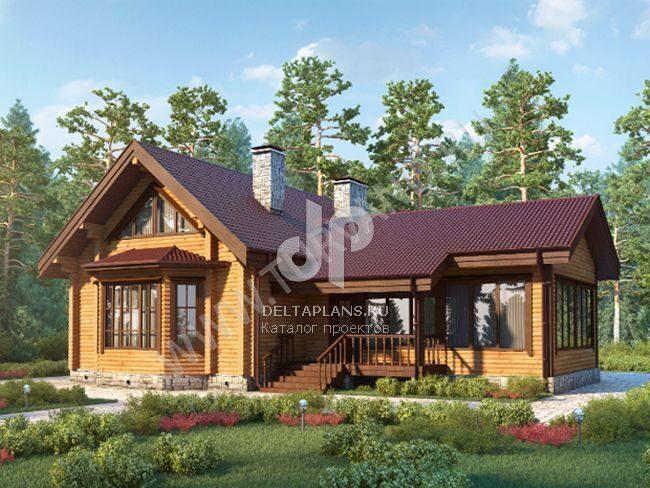 проекты деревянных домов с эркером и террасой